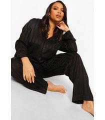 plus jacquard satijnen gestreepte pyjama
