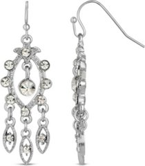 2028 silver-tone crystal chandelier earrings