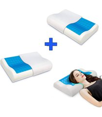 combo x2 almohada indeformable gel activo con funda