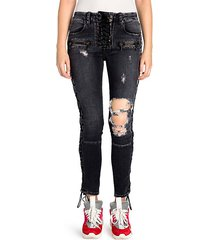 lace-up distressed skinny jeans