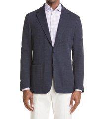 men's canali trim fit plaid jersey sport coat, size 38 us - brown