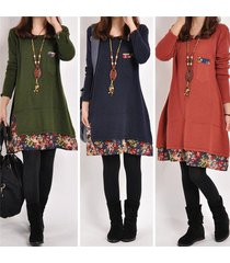 new women long sleeve plus size loose casual floral tops tunic blouse dress m xx