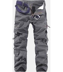 uomo cargo pantaloni in 100% cotone con multi-tasche in colore as tinta unita da outdoor
