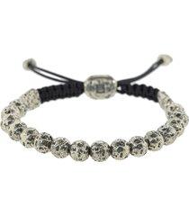 distressed silver bead bracelet