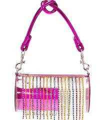 area crystal tassel shoulder bag - pink