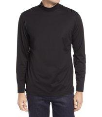 men's bugatchi ooohcotton long sleeve mock neck tech t-shirt, size xx-large - black