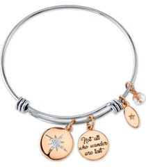 """unwritten """"not all who wonder are lost"""" crystal star bangle bracelet in stainless steel and rose gold-tone stainless steel silver plated charms"""