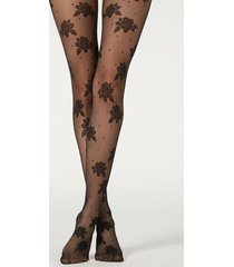 calzedonia dot and rose 40 denier tulle tights woman black size 3/4