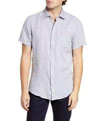 men's rodd & gunn regular fit ellerslie linen shirt, size small - grey