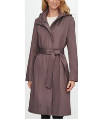 calvin klein belted hooded raincoat
