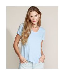 camiseta feminina básica manga curta decote v azul claro
