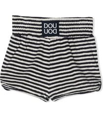 douuod black and white cotton blend shorts