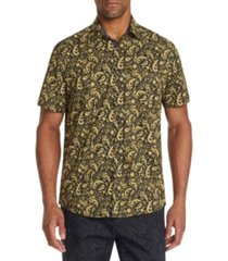 tallia men's slim-fit performance stretch paisley short sleeve shirt