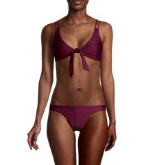 petal and sea by pq women's knotted bikini top - wine - size m