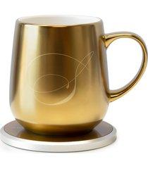 ohom kopi monogram golden mug & warmer set, size one size - yellow