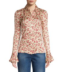 crushed silk floral bell-sleeve shirt