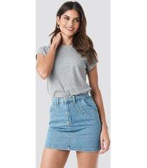 trendyol stitch detail mini denim skirt - blue