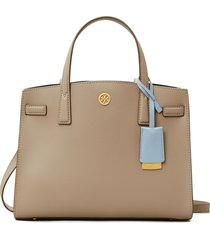 tory burch small walker leather satchel - grey