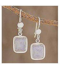 jade dangle earrings, 'maya lilac' (guatemala)