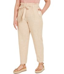 derek heart trendy plus size cotton paperbag pants