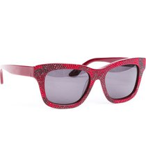 valentino red crystal cat eye sunglasses red sz: