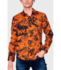 camisa ellus stretch full print mountains multicolor - calce regular