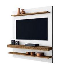 painel home suspenso para tv até 55 polegadas sala de estar web new branco/canela - frade movelaria