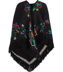 poncho met bloemenprint alexa  zwart