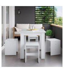 conjunto mesa fixa com 4 banquetas móveis canção branco