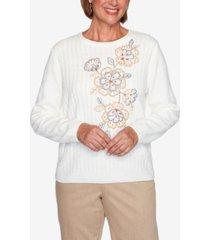women's plus size glacier lake asymmetric flower chenille sweater