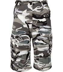 distressed camo shorts grey