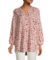 beach lunch lounge women's floral smock top - pink cosmo - size xs