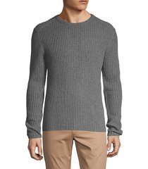 amicale men's cashmere ribbed crewneck sweater - charcoal - size xl