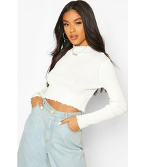 knitted ruffle detail crop top, cream