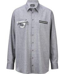 overhemd men plus grijs::wit
