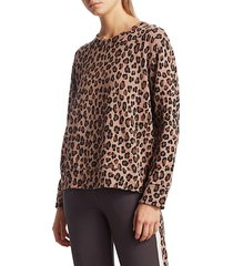 monrow women's leopard print oversized sweatshirt - mocha - size xs
