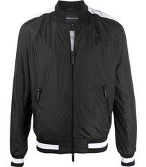 emporio armani mesh stripe detail round neck bomber jacket - black