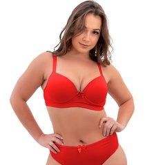 1 suti㣠plus size reforã§ado cor lisa soutien bojã£o lingerie vermelho - vermelho - feminino - dafiti