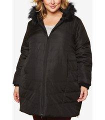 motherhood maternity plus size faux-fur hooded coat