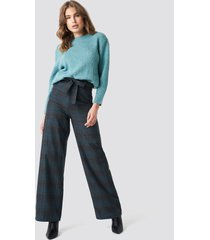 trendyol checkered wide pants - grey
