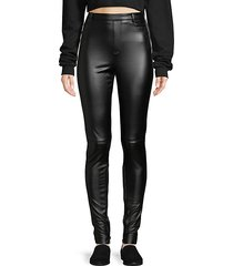 high-rise stretch vegan leather pants