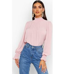 shirred neck cuff smock top, rose