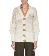 cable knit bee motif asymmetric handmade cashmere cardigan