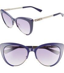 women's moschino 55mm cat eye sunglasses - blue