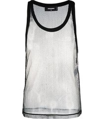 dsquared2 sheer mesh vest top - black