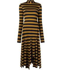 monse stripe godet dress - brown