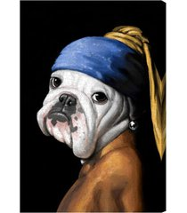 oliver gal dog with the pearl earring canvas wall art, size 20x30 - black