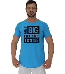 camiseta longline alto conceito get big or die trying azul piscina - azul - masculino - algodã£o - dafiti