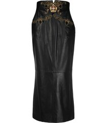 a.n.g.e.l.o. vintage cult 1990s crown plaque leather long skirt -