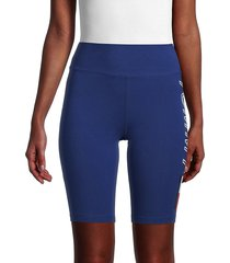 tommy hilfiger sport women's high-waist side-logo bike shorts - deep blue - size xl